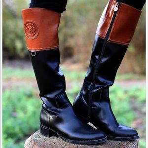 ETIENNE AIGNER black&brown riding boots 9